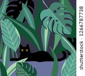 black cat and tropical leaves....   Shutterstock .eps vector #1266787738
