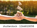 women and man hands hold a... | Shutterstock . vector #1266810058