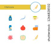natural food icon set and milk...