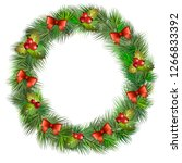 christmas spruce wreath with... | Shutterstock .eps vector #1266833392