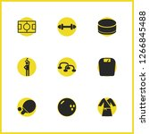 activity icons set with push...