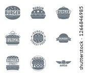 street cheeseburger logo set....   Shutterstock . vector #1266846985