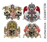 gothic sign with skull and sexy ... | Shutterstock .eps vector #1266847258