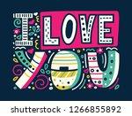 i love you unique hand drawn... | Shutterstock .eps vector #1266855892
