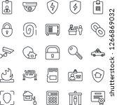 thin line icon set   passport... | Shutterstock .eps vector #1266869032