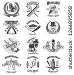 set of vintage barber shop... | Shutterstock .eps vector #1266895858