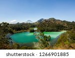 Two Lake, Lake Telaga Pengilon and Lake Telaga warna shows color different, although they close to each other. Located in Dieng Wonosobo Central Java Indonesia.