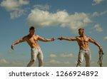 opposites in sport. men shows...   Shutterstock . vector #1266924892