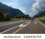 curved asphalt road with... | Shutterstock . vector #1266936745