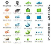 Business Symbols Isolated On White Background - Vector Illustration, Graphic Design Editable For Your Design. Business Logo