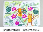 kid drawing of cute monkeys on... | Shutterstock . vector #1266955012