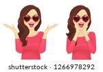 surprised beautiful girl in... | Shutterstock .eps vector #1266978292