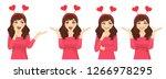 surprised beautiful girl in... | Shutterstock .eps vector #1266978295
