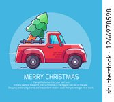 pickup truck with christmas tree | Shutterstock .eps vector #1266978598