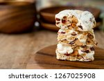 homemade nougat bar with... | Shutterstock . vector #1267025908