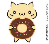 cat and donuts | Shutterstock .eps vector #1267044148