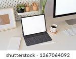 office desk scenery with mockup ... | Shutterstock . vector #1267064092