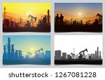 silhouette of jack up drilling... | Shutterstock .eps vector #1267081228