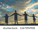silhouette of children playing    Shutterstock . vector #1267094908