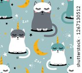 cats are unicorns  stars  moon  ... | Shutterstock .eps vector #1267130512