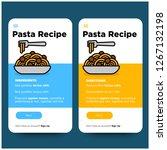 pasta recipe app for phone ux... | Shutterstock .eps vector #1267132198