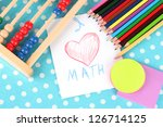 toy abacus  note paper  pencils ... | Shutterstock . vector #126714125