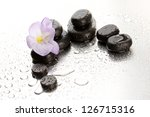Spa Stones And Purple Flower ...
