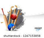 ball hitting the wicket stumps... | Shutterstock .eps vector #1267153858