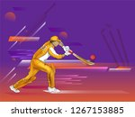batsman in playing action on... | Shutterstock .eps vector #1267153885