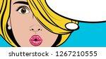 pop art poster. surprised... | Shutterstock .eps vector #1267210555