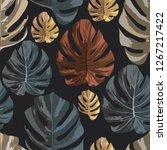 dark color tropical monstera... | Shutterstock .eps vector #1267217422
