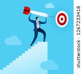 businessman climb the stairs to ... | Shutterstock .eps vector #1267233418