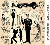 hand drawn retro women and men... | Shutterstock .eps vector #126724466