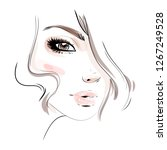 beautiful woman face makeup... | Shutterstock .eps vector #1267249528