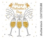 happy valentines day. stamp ... | Shutterstock .eps vector #1267250188