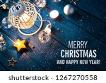 christmas lantern with... | Shutterstock . vector #1267270558