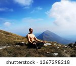 meditation man on the top of... | Shutterstock . vector #1267298218