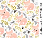 seamless woodland pattern with... | Shutterstock .eps vector #1267302148