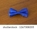 closeup of a blue bow tie on... | Shutterstock . vector #1267308205