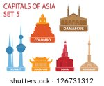 capitals of asia. set 5 | Shutterstock .eps vector #126731312