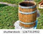 open wooden barrel. wooden...