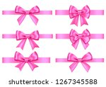 pink  gift  bows set  isolated... | Shutterstock .eps vector #1267345588