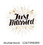 just married  lettering. marry  ... | Shutterstock .eps vector #1267398385