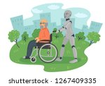 robot caring for disabled...   Shutterstock .eps vector #1267409335