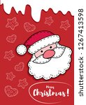christmas card  santa. new year ... | Shutterstock .eps vector #1267413598