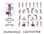 stylish young black man with... | Shutterstock .eps vector #1267419748