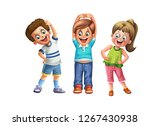 kid jogging illustration | Shutterstock . vector #1267430938