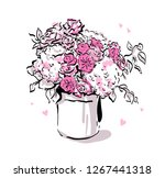 beautiful flowers bouquet white ... | Shutterstock .eps vector #1267441318