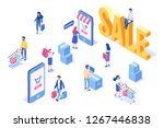 isometric people shopping. big... | Shutterstock .eps vector #1267446838