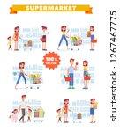 people shopping in supermarket...   Shutterstock .eps vector #1267467775